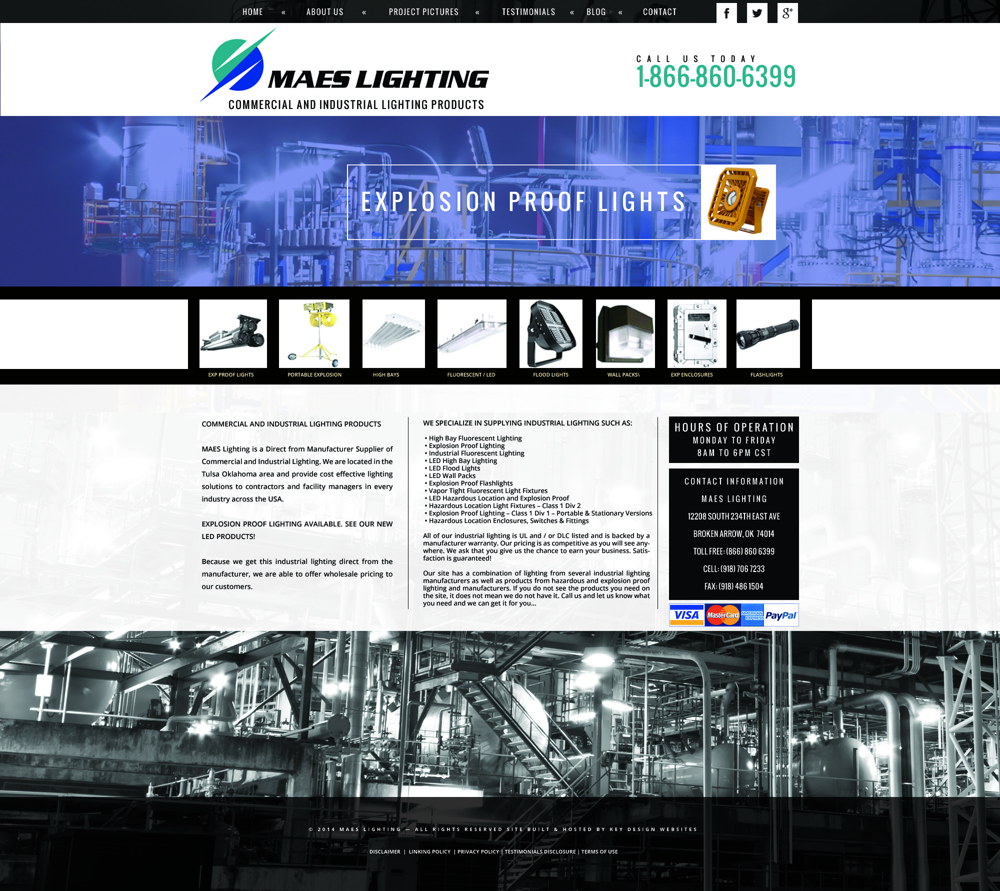 Custom industrial products website