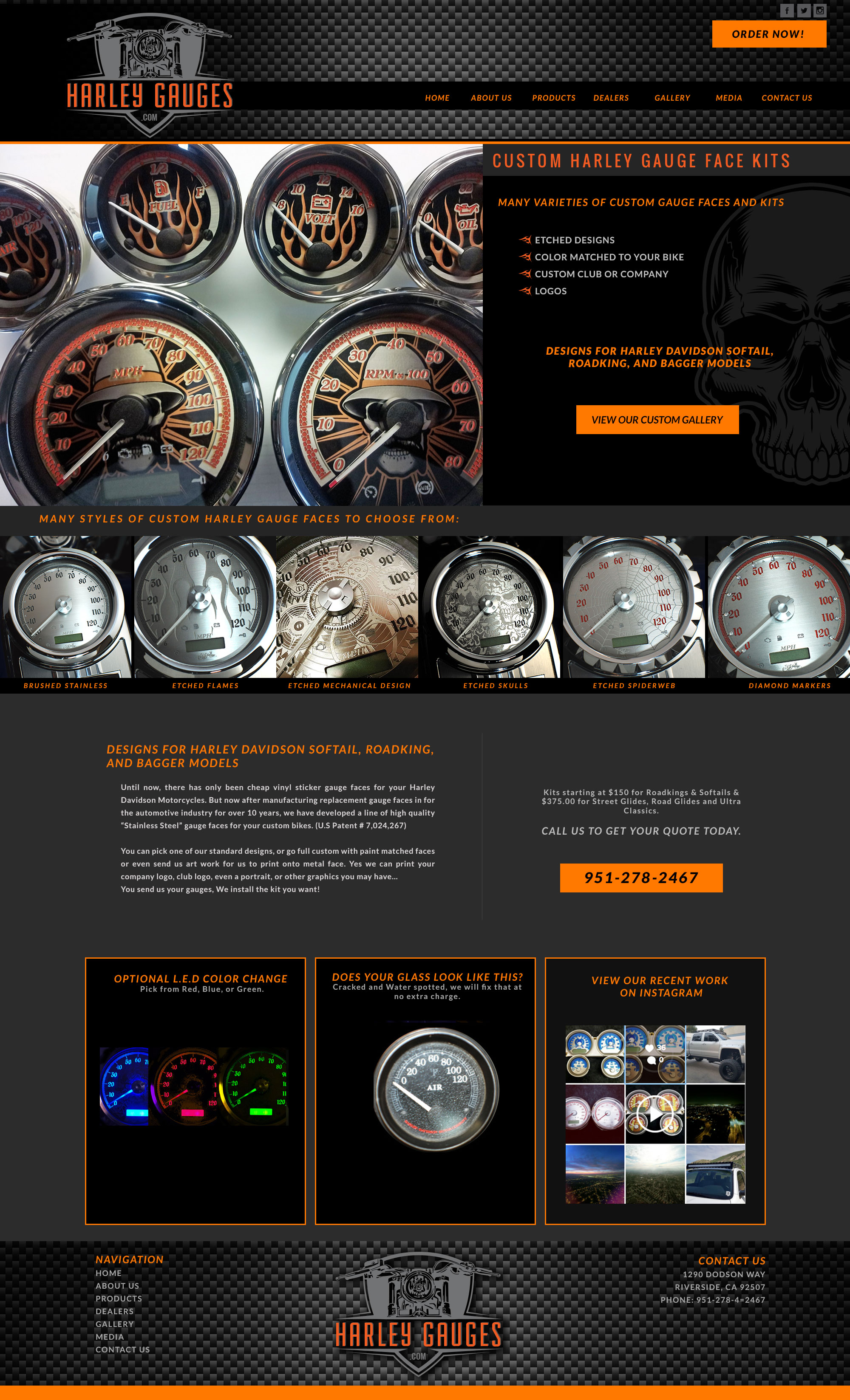 Custom Harley Motorcycle Gauges Website