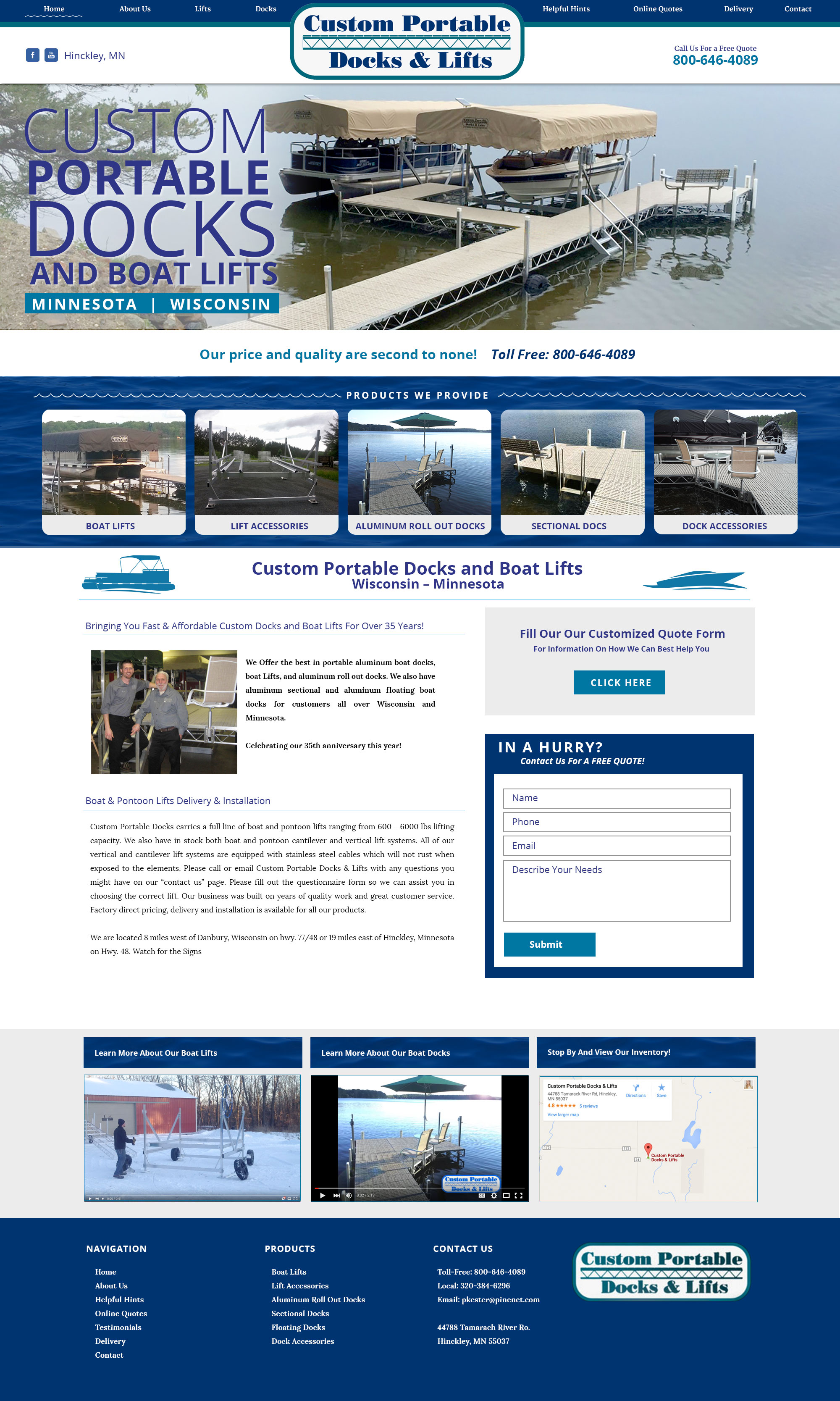 Portable Docks Custom Website
