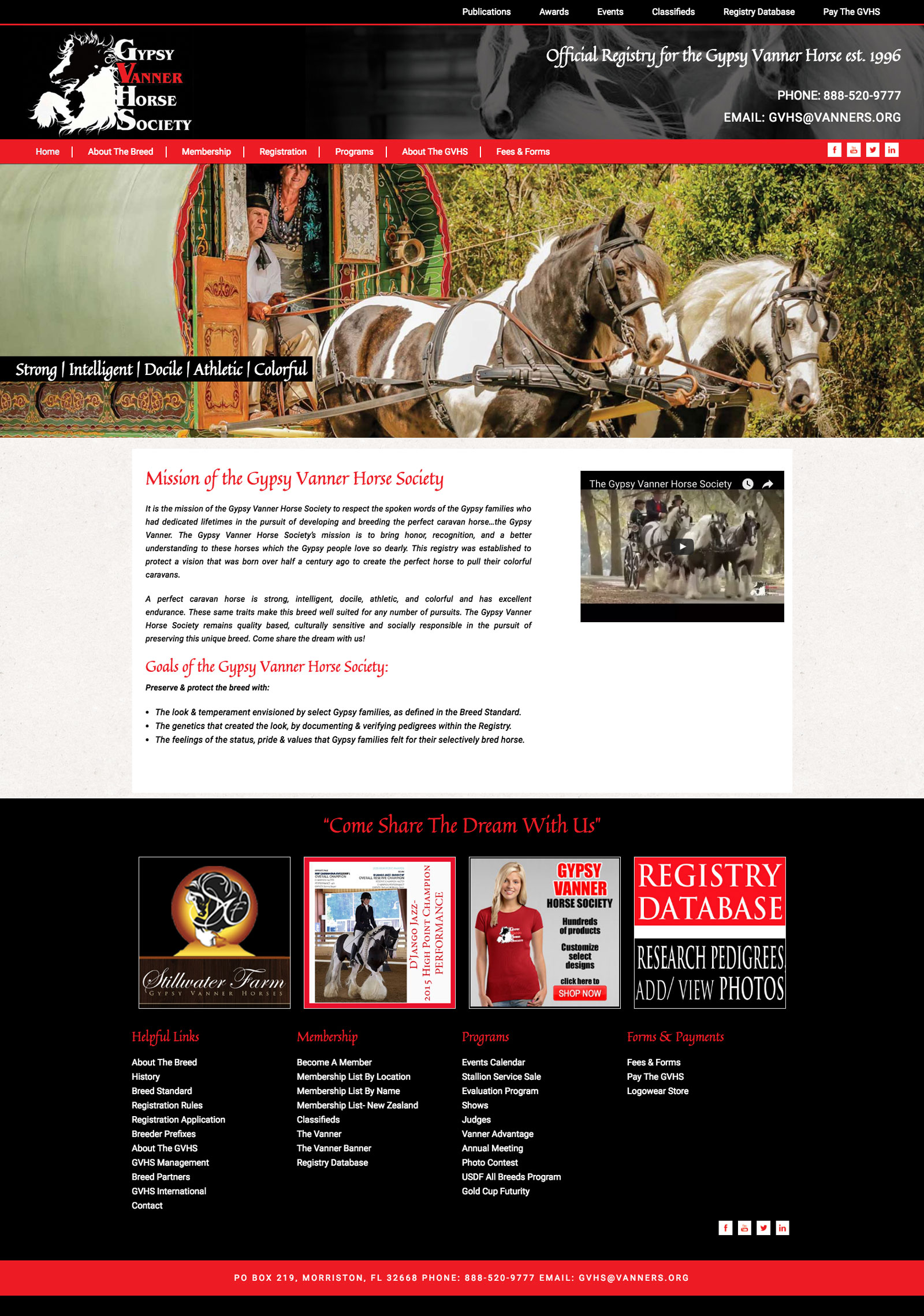 Gypsy Vanner Horse Society Website
