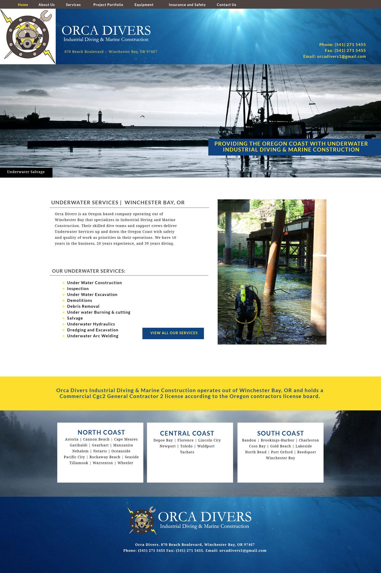 Diving Custom Website